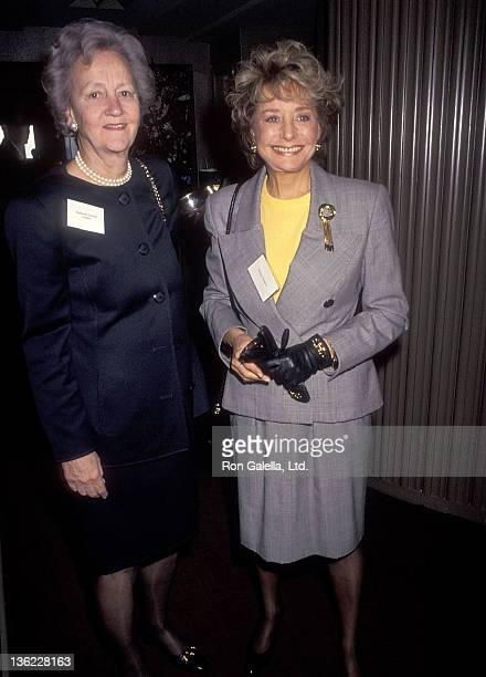 Publisher Katharine Graham and TV personality Barbara Walters attend the CitymealsonWheels' Fourth Annual Power Lunch for Women on April 2 1991 at...