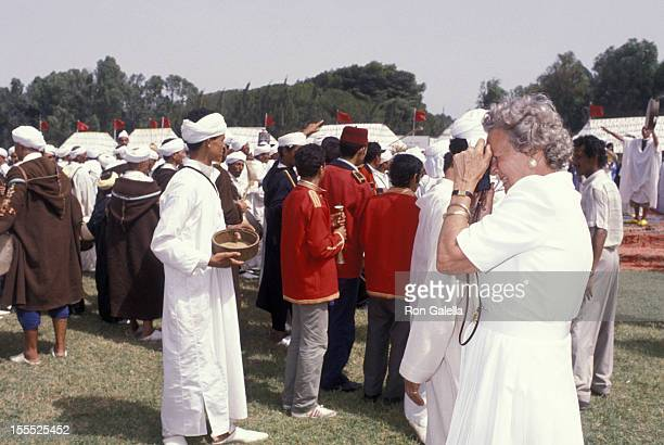 Publisher Katharine Graham attends 70th Birthday Party for Malcolm Forbes on August 20 1989 in Tangier Morocco