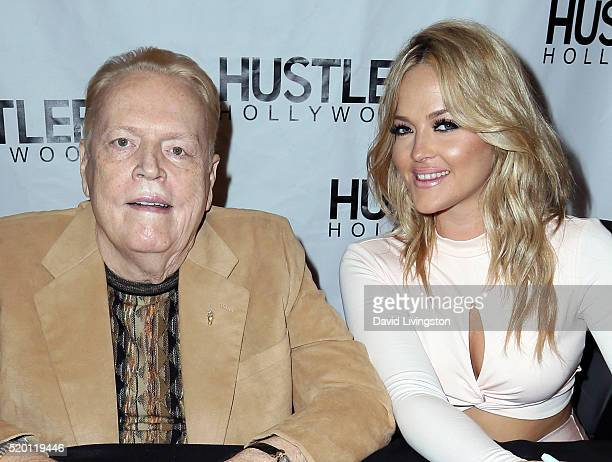 Publisher Larry Flynt and adult film actress Alexis Texas attend the Hustler Hollywood new store opening at Hustler Hollywood on April 9 2016 in Los...