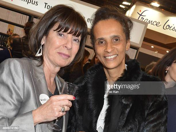 Publisher Muriel Beyer from Editis and Karine Silla attend the 'Salon Du Livre 2015' Opening at Parc Des Expositions Porte de Versailles on March 19...