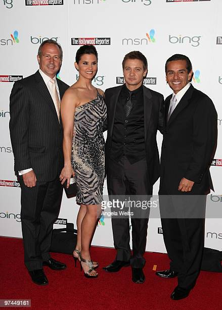 Publisher of The Hollywood Reporter Eric Mika broadcast journalist Lu Parker actor Jeremy Renner and Mayor Antonio Villaraigosa attend The Hollywood...