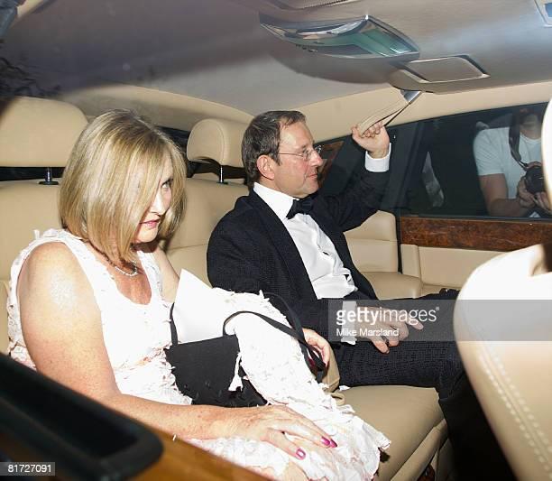 Publisher Richard Desmond and Janet Desmond arrive at Elton John's White Tie And Tiara Ball on June 26 2008 in Old Windsor United Kingdom