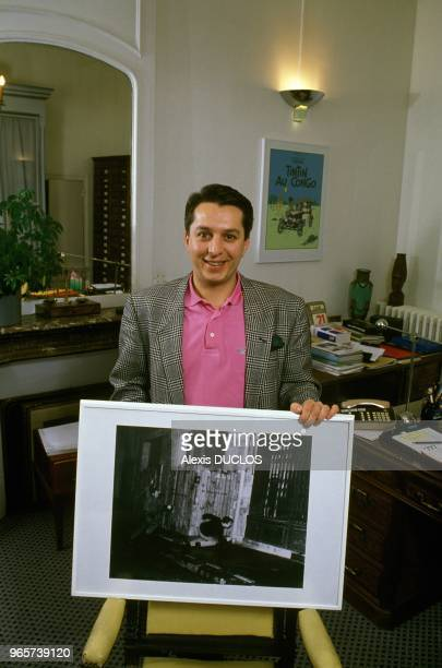 Publisher Thierry Verret And The Photo of Himself In May 1968 Taken By Gilles Caron Paris February 24 1988