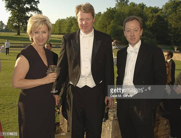 Publisher Tina Brown the 9th Earl Spencer Charles Spencer and Geordie Greig attend the Raisa Gorbachev Foundation Launch Party at Althorp House on...