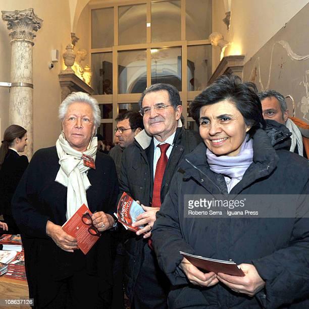 Publisher Vittoria Cappelli italian exprime minister Romano Prodi and his wife Flavia Franzoni attend the inauguration of Palazzo Fava home of...
