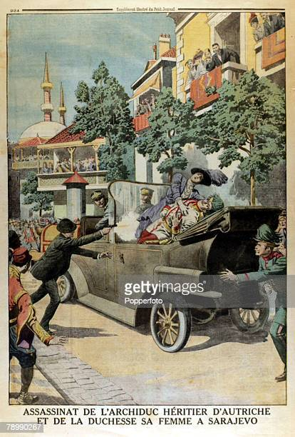 1914 A page from Le Petit Journal illustrated supplement shows the assasination of Archduke FranzFerdinand and his wife Sophie at Sarajevo on 28th...