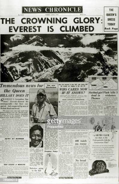 Publishing Historic Newspaper Headlines 2nd June 1953 The front page of the News Chronicle dedicated to the first successful climbing of Mt Everest...