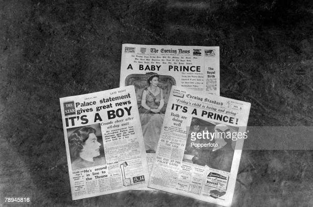 19th February 1960 London's 3 evening newspapers announce the news of the birth of Queen Elizabeth 's second son Prince Andrew