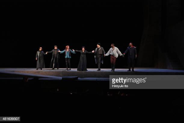 Puccini's Tosca at the Metropolitan Opera House on Friday October 25 2013This imageCurtain callFrom left Eduardo Valdes James Courtney Roberto Alagna...