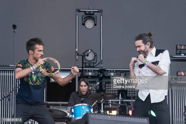 Pucho and Juan Manuel Latorre of Vetusta Morla performs during the last day of the O Son do Camino Festival on June 15, 2019 in Santiago de...