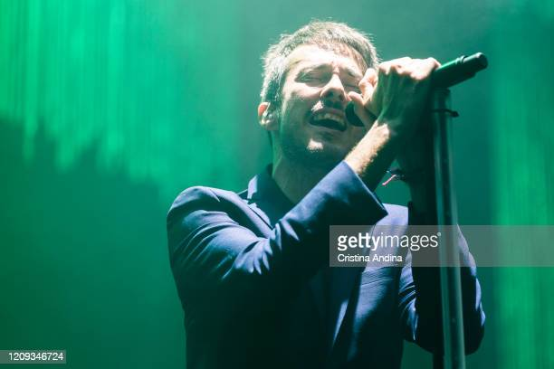 Pucho of Vetusta Morla performs on stage in Coliseum A Coruna on February 28 2020 in A Coruna Spain