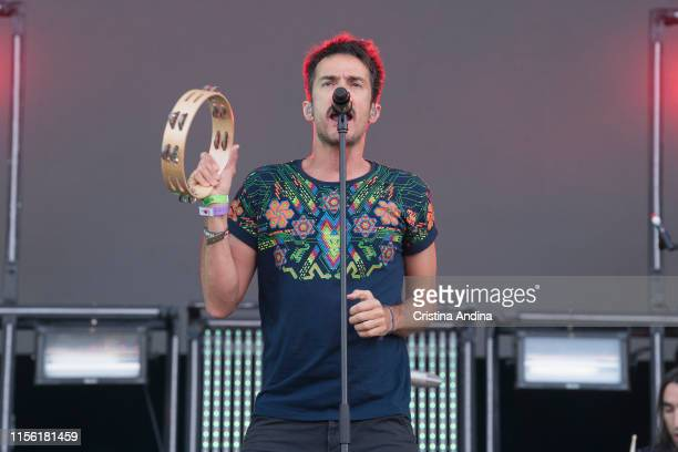 Pucho, vocalist of Vetusta Morla, performs during the last day of the O Son do Camino Festival on June 15, 2019 in Santiago de Compostela, Spain.