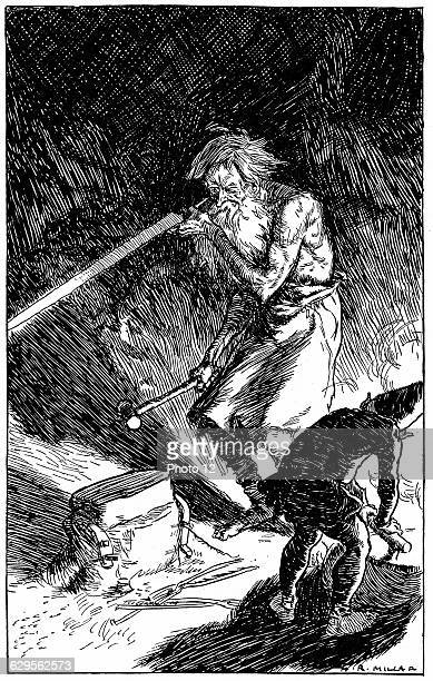 Puck helping Wayland Smith of the Gods to forge a sword for the novice who by sincerely wishing him well released him from the spell which bound...