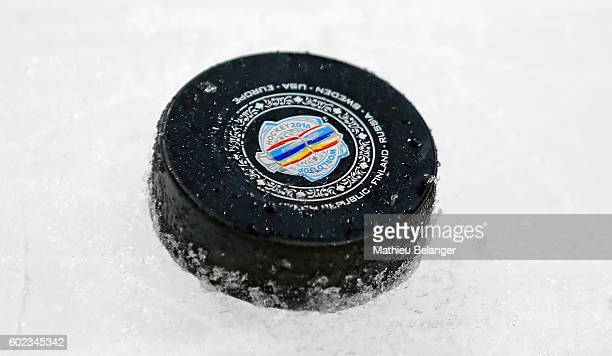 A puck is pictured on the ice during a practice at the Centre Videotron on September 7 2016 in Quebec City Quebec Canada