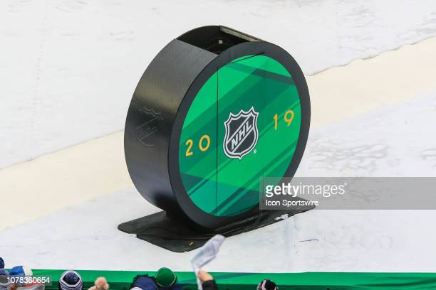 NHL 2019 puck logo during the Boston Bruins and Chicago Blackhawks Winter Classic NHL game on January 1 at Notre Dame Stadium in South Bend IN