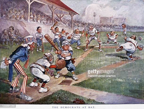Puck magazine uses political figures in a baseball game to express a point of view in this cartoon published early 20th century in New York City.