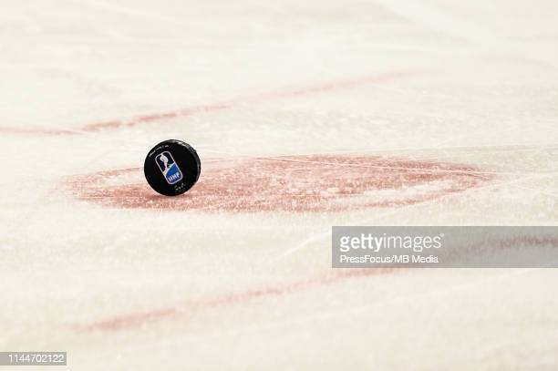 Puck on ice during the 2019 IIHF Ice Hockey World Championship Slovakia group A game between Canada and Germany at Steel Arena on May 18 2019 in...