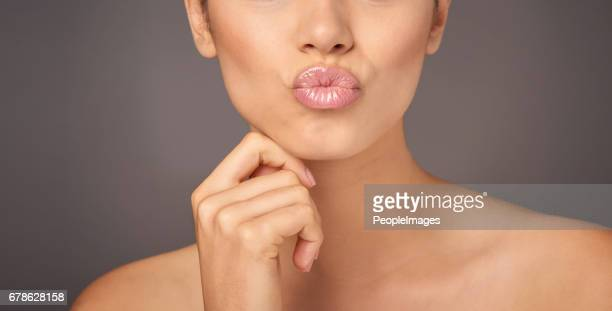 pucker and pout - pink lipstick stock photos and pictures
