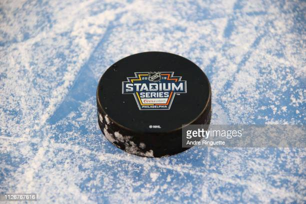 Pucks are seen during the Pittsburgh Penguins practice for the 2019 Coors Light NHL Stadium Series game against the Philadelphia Flyers at Lincoln...