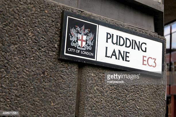 pudding lane sign - great fire of london stock photos and pictures