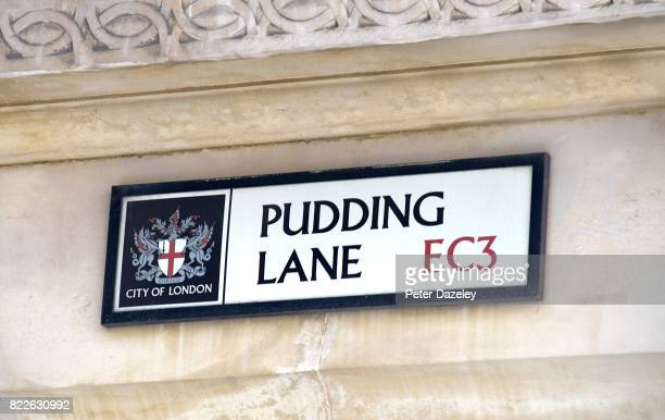 Pudding Lane street sign near the monument in London which was built to commemorate the great fire of London in 1666, the fire started in Pudding...