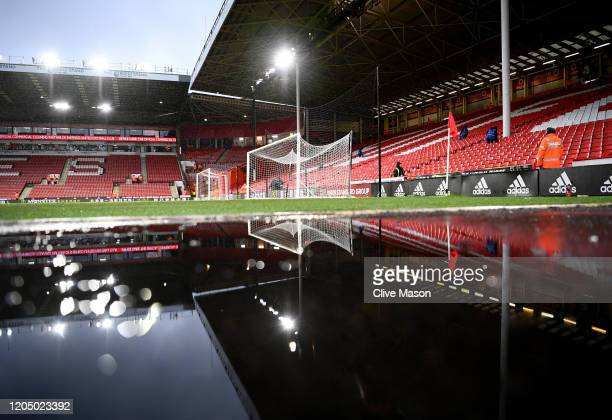 Puddle is seen inside the stadium prior to the Premier League match between Sheffield United and AFC Bournemouth at Bramall Lane on February 09, 2020...