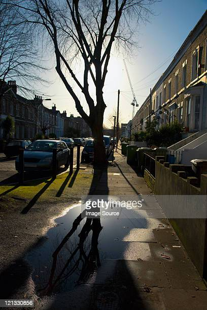 Puddle on pavement with houses