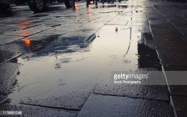 puddle on sidewalk in berlin, germany - reflection pool stock pictures, royalty-free photos & images