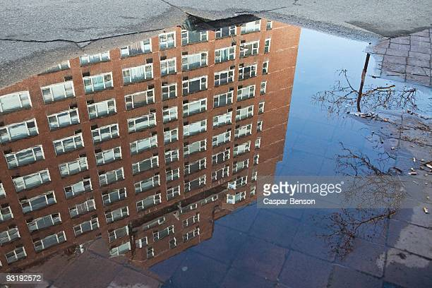 Puddle with reflection of a building