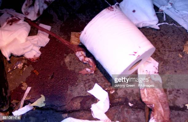 Puddles of blood and rolls of tissuepaper make up the scene outside a cordonedoff fire exit of the Astoria nightclub in central London where two men...