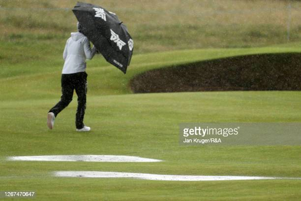 Puddles of rain water are seen on the course after heavy rain and strong winds during Day Two of the AIG Women's Open 2020 at Royal Troon on August...