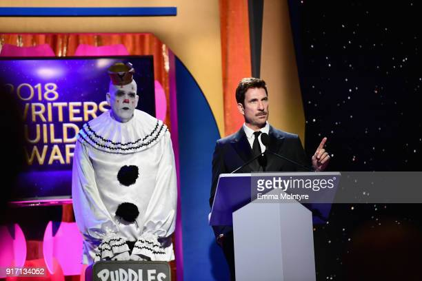 Puddles Pity Party and actor Dylan McDermott speak onstage during the 2018 Writers Guild Awards LA Ceremony at The Beverly Hilton Hotel on February...