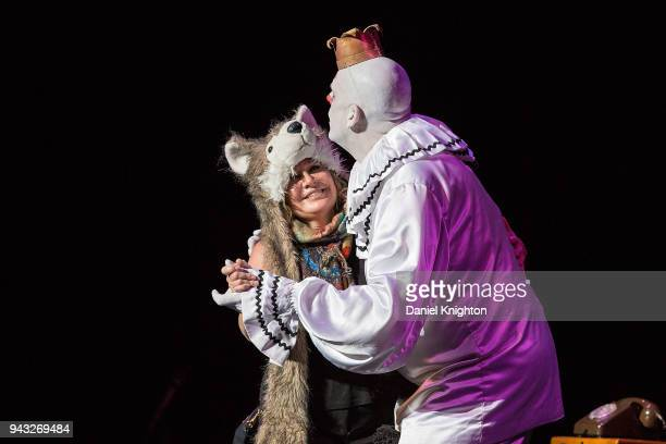 Puddles Pity Party and audience member Lori Kaplan perform on stage at Balboa Theatre on April 7 2018 in San Diego California