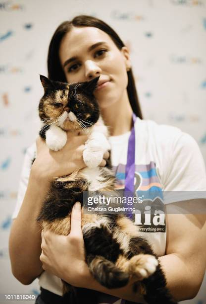 Pudge the Cat and Kady Lone attend CatCon Worldwide 2018 at Pasadena Convention Center on August 5 2018 in Pasadena California