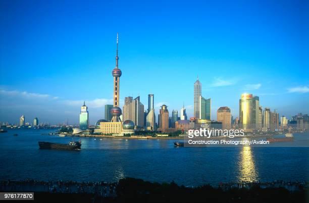 Pudong Business District at dusk Shanghai China