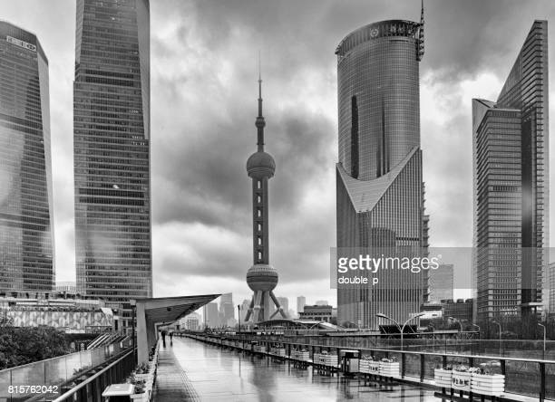 pudong in heavy storm - pudong stock pictures, royalty-free photos & images