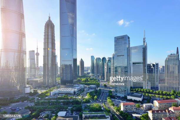 pudong lujiazui financial district at sunset, shanghai, china - pudong stock pictures, royalty-free photos & images