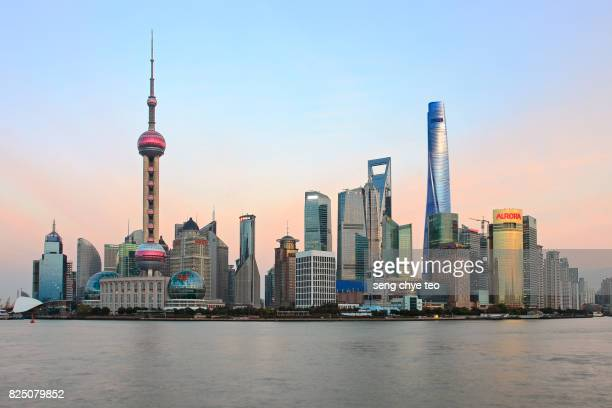 Pudong Skyline from the Bund, Shanghai, China, Asia