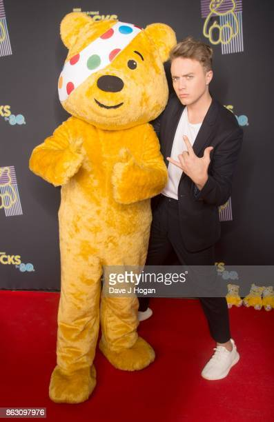 Pudsey and Roman Kemp is pictured at BBC Children in Need Rocks the 80s at SSE Arena on October 19, 2017 in London, England.