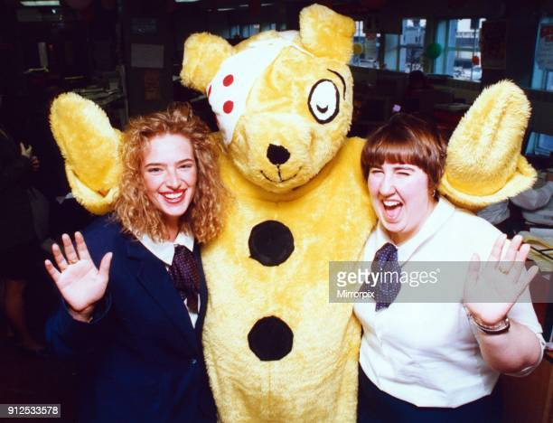 Pudsey Bear with Gazette staff Yvonne White and Lynn McMahon 17th November 1992