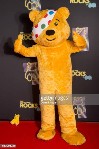 Pudsey is pictured at BBC Children in Need Rocks the 80s at SSE Arena on October 19, 2017 in London, England.