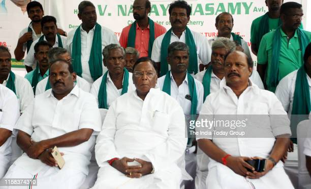 Puducherry Chief Minister V. Narayanasamy clicked during a hunger strike to protest against the hydrocarbon extraction in Tamil Nadu and Puducherry,...