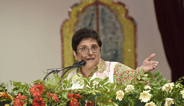 Puducherry Lt Governor Kiran Bedi addresses during the 4th National Seminar on commemorating the life vision and ideology of the visionary leader...