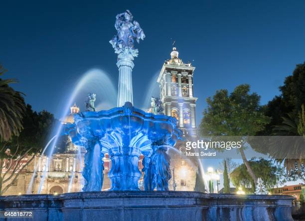 puebla - cathedral of puebla at twilight - puebla state stock pictures, royalty-free photos & images