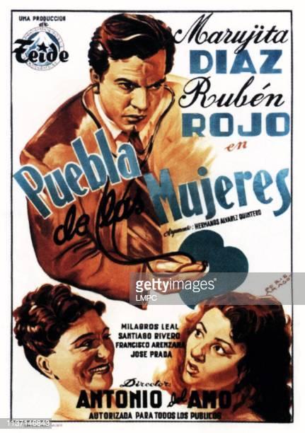 Puebla De Las Mujeres poster Spanish poster art 1953