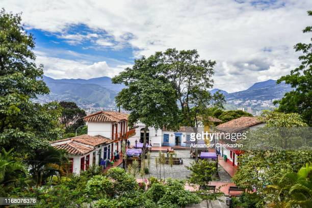 pueblito paisa (little town) village view on a cloudy day in medellin - medellin colombia stock pictures, royalty-free photos & images