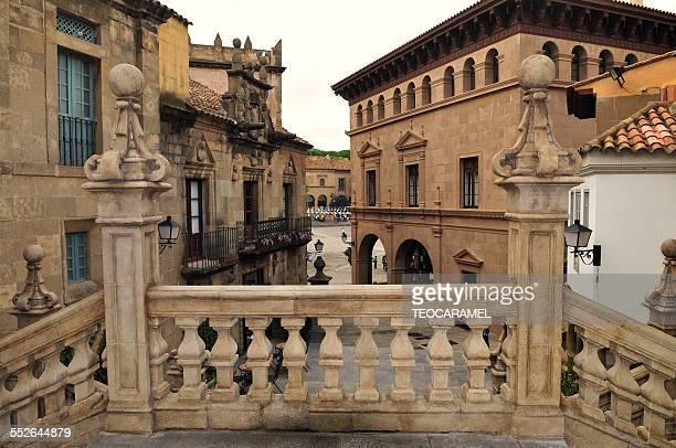 """pueblo espanol"": architecture. - montjuic stock pictures, royalty-free photos & images"