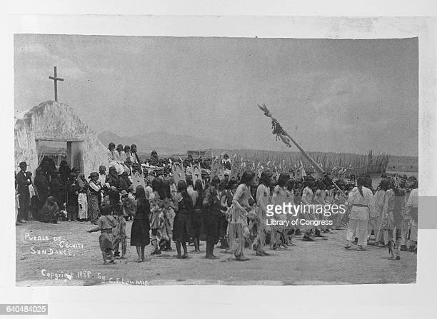 Pueblo Indians perform the Sun Dance in front of spectators Pueblo De Cochiti New Mexico 1888 | Location Pueblo De Cochiti New Mexico USA