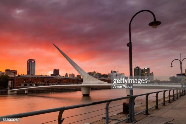 Puente de la Mujer (Women's Bridge) at sunset, Buenos Aires, Argentina.