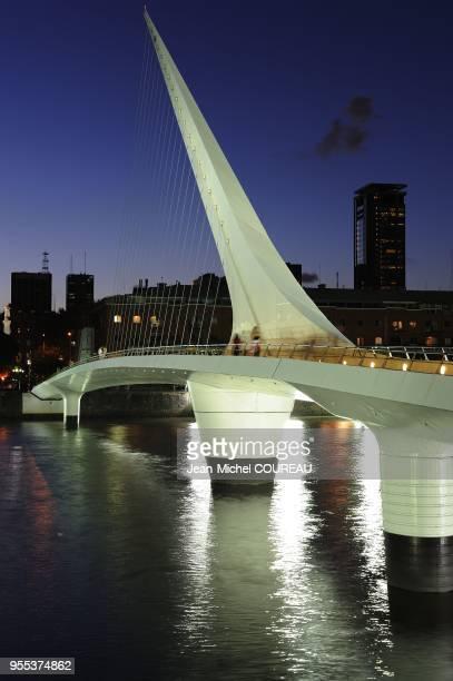 Puente de la Mujer Bridge of the Woman was drawn by the Spanish architect Santiago Calatrava